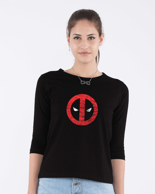 Shop Deadpool Minimal Round Neck 3/4th Sleeve T-Shirt (DPL)-Front