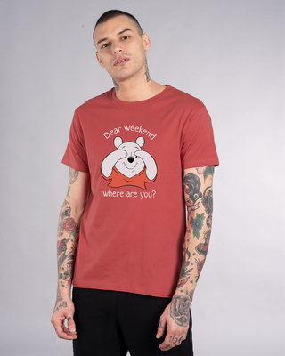 Shop Dear Weekend Half Sleeve T-Shirt (DL)-Front