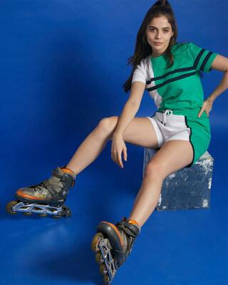 Shop Bubble Gum Color Block Shorts-Front