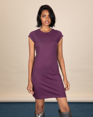 Shop Deep Purple Cap Sleeve Plain T-Shirt Dress-Front