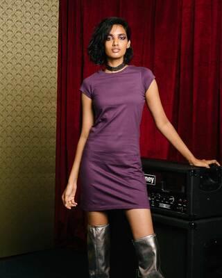 Shop Deep Purple Cap Sleeve Plain T-Shirt Dress-Front