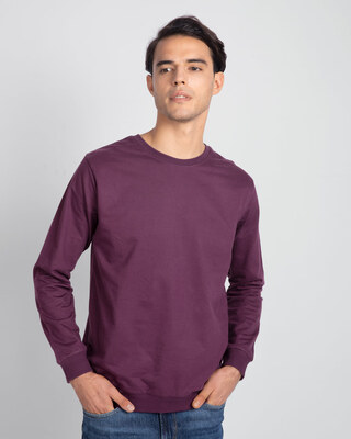 Shop Deep Purple Fleece Light Sweatshirt-Front