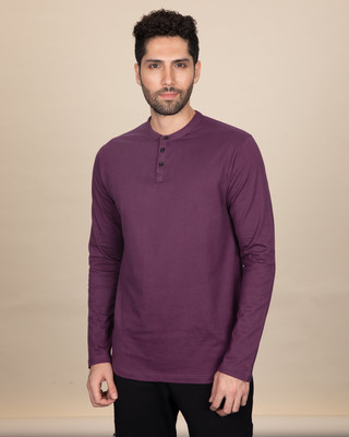Shop Deep Purple Full Sleeve Henley T-Shirt-Front