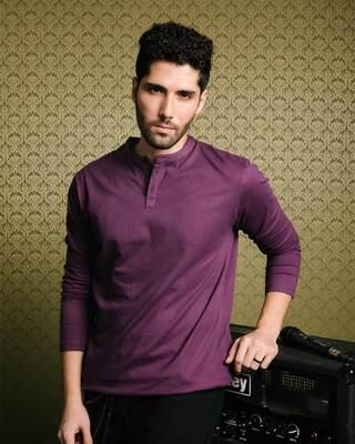 Shop Deep Purple Full Sleeve Henley T-Shirt-Front