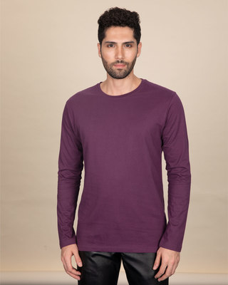 Shop Deep Purple Full Sleeve T-Shirt-Front