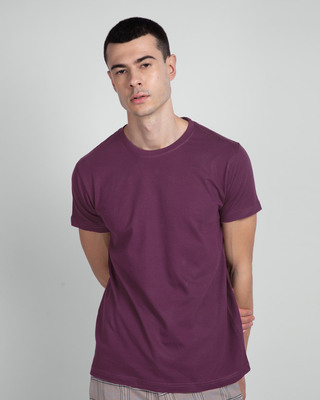 Shop Deep Purple Half Sleeve T-Shirt-Front