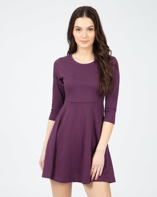Shop Deep Purple Plain Flared Dress-Front