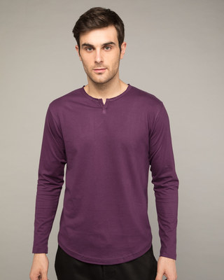 Shop Deep Purple Slit Neck Full Sleeve Henley T-shirt-Front