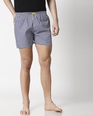 Shop Deep Sea Checks Men's Boxers-Front