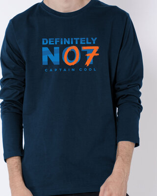Shop Definitely Not 7 Full Sleeve T-Shirt Navy Blue-Front