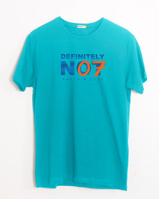 Shop Definitely Not 7 Half Sleeve T-Shirt Tropical Blue-Front