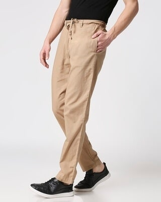 Shop Desert Beige Casual Cotton Pants-Front