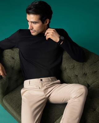 Shop Desert Sand Beige Slim Fit Cotton Chino Pants-Front