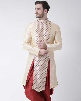 Shop Deyann Dupion Silk Beige Knee Length Full Sleeve Regular Fit Printed Kurta for Men-Front