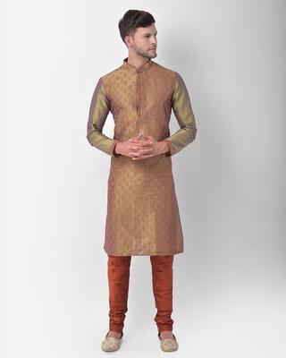 Shop Deyann Dupion Silk Kurta and Churidar Set for Men Full Sleeve Printed Ethnic Motifs-Front