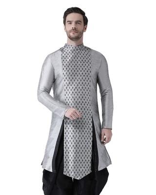 Shop Deyann Dupion Silk Silver Knee Length Full Sleeve Regular Fit Printed Kurta for Men-Front