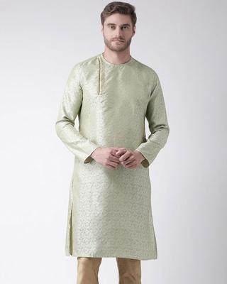 Shop DEYANN Silk Blend Knee Length J Red Color Full Sleeve Regular Fit Straight Kurta for Men-Front