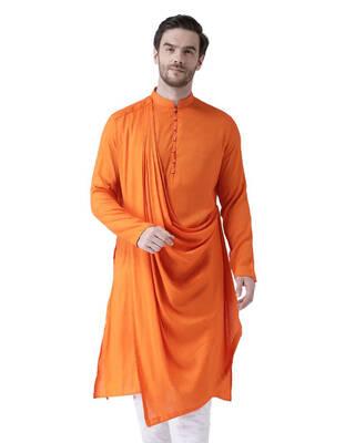 Shop Deyann Solid Kurta In Orange-Front