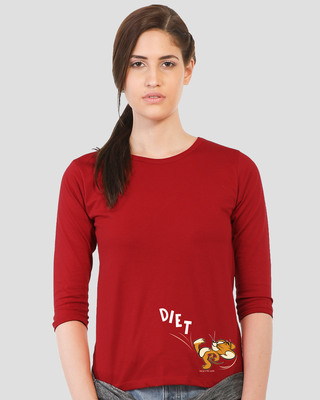 Shop Diet Kick Jerry Round Neck 3/4 Sleeve T-Shirts (TJL) Bold Red-Front