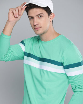 Shop Difference of Opinion Green Solid T-shirt-Front