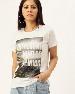 Shop Difference of Opinion White Typographic T-Shirt-Front