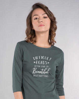 Shop Difficult Roads Round Neck 3/4th Sleeve T-Shirt-Front