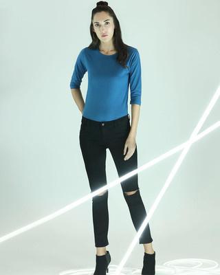 Shop Digi Teal 3/4 Sleeve T-Shirt-Front