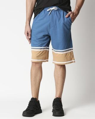 Shop Digital Teal Men's Terry Color Block Shorts-Front