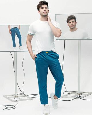 Shop Digital Teal Plain Pyjama-Front