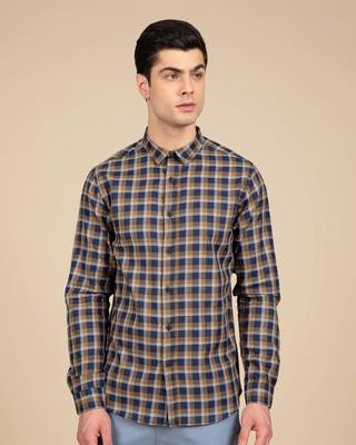 Shop Dijon Blue Checked Shirt-Front