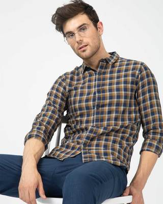 Shop Dijon Blue Checked Shirt-Front