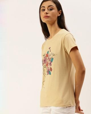 Shop Dillinger Beige Graphic Print T-Shirt-Front