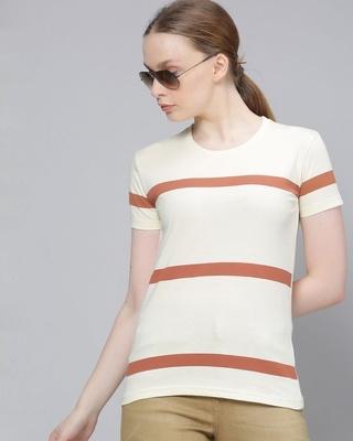 Shop Dillinger Beige Striped T-Shirt-Front