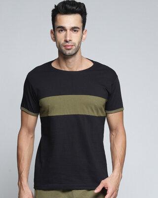 Shop Dillinger Black Colourblocked T-shirt-Front