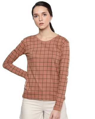 Shop Dillinger Brown Checkered T-Shirt-Front