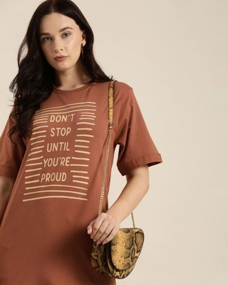 Shop Dillinger Brown Typography T-Shirt-Front