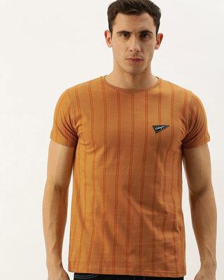 Shop Dillinger Brown Vertical Stripes T-shirt-Front