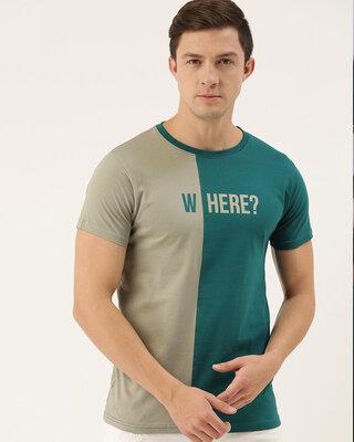Shop Dillinger Grey Colourblocked T-shirt-Front