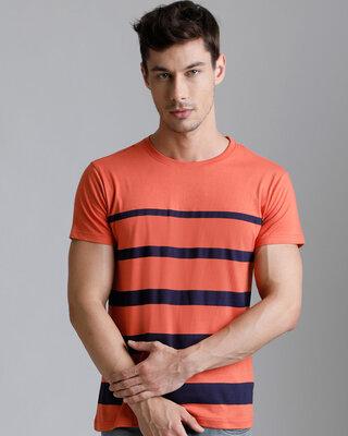 Shop Dillinger Maroon Striped T-shirt-Front