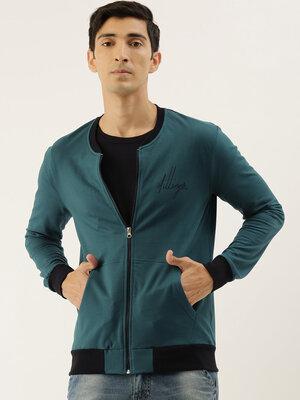 Shop Dillinger Men's Green Solid Bomber Jackets-Front