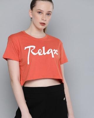 Shop Dillinger Orange Typography T-Shirt-Front