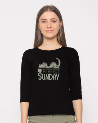 Shop Dino Sunday Round Neck 3/4th Sleeve T-Shirt-Front