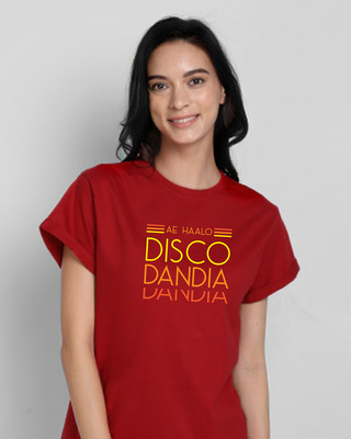 Shop Disco Dandiya Boyfriend T-Shirt Bold Red-Front