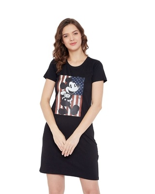 Shop Disney by Wear your Mind Mickey Mouse Family Round Neck Short Sleeves Graphic Print - Black-Front