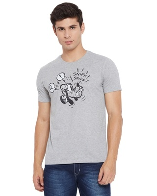 Shop Wear Your Mind Mickey Mouse Family Round Neck Short Sleeves Graphic Print T-shirt - Grey-Front