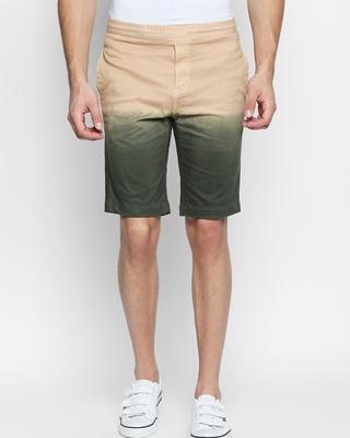 Shop Disrupt Beige Cotton Regular Fit Shorts For Men's-Front