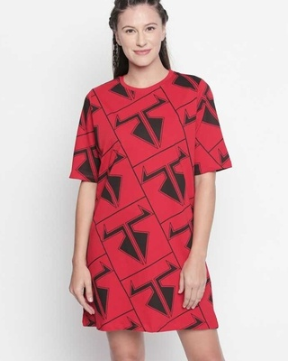 Shop Disrupt Graphic Print Red Dress For Women-Front