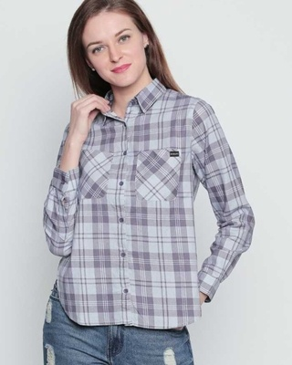 Shop Disrupt Grey/Purple Cotton Material Checkered Regular Fit Shirt For Women-Front