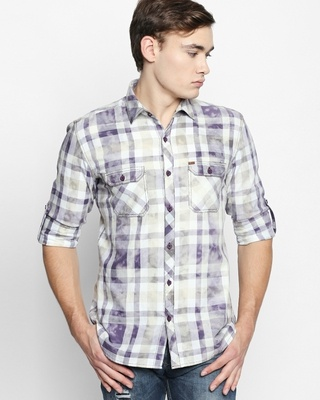Shop Disrupt Purple Cotton Fabric Full Sleeve Checkered Shirt For Men-Front