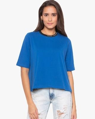 Shop Disrupt Royal blue Boxy slogan T-shirt for womens-Front